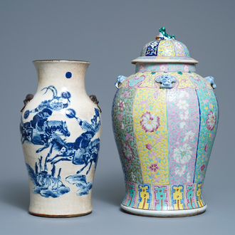 A Chinese famille rose vase with cover and a blue and white crackle-glazed vase, 19th C.