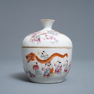 A Chinese famille rose 'spring festival' bowl and cover, Guangxu mark, 19/20th C.