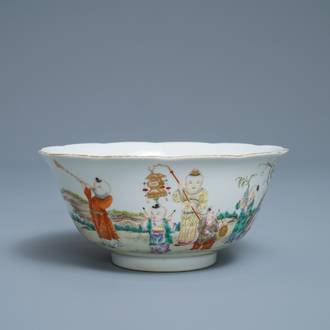 A Chinese famille rose 'playing boys' bowl, four-character mark, Republic