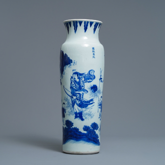 A Chinese blue and white sleeve vase depicting the legendary Zhang Xian, Transitional period