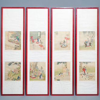 Chinese school, signed Yu Zhiding (1647-c.1709), ink and colour on silk, dated 1711: eight album pages