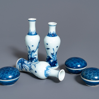 Three Chinese blue and white vases and three covered boxes, Hatcher cargo shipwreck, Transitional period