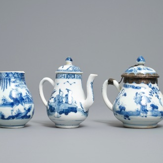 Two Chinese blue and white teapots and a cream jug, Yongzheng
