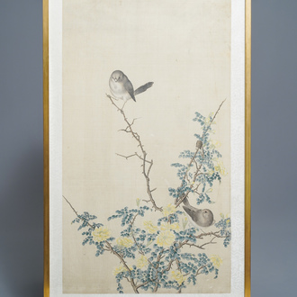Chinese school, 19th C., ink and colour on silk: 'birds on blossoming branches'
