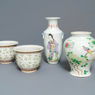 A pair of Chinese famille rose jardinières and two vases, 19/20th C.