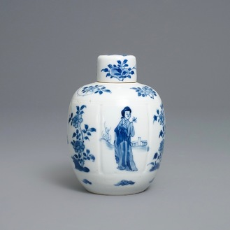 A Chinese blue and white 'Long Eliza' tea caddy and cover, Kangxi