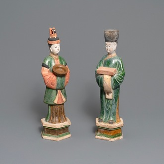 Two Chinese polychrome earthenware tomb figures, Ming