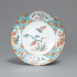 A Dutch-decorated Chinese Kakiemon-style plate, ex-coll. August the Strong, Yongzheng