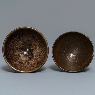 Two Chinese jianyao 'hare's fur' and speckled brown glaze tea bowls, Song
