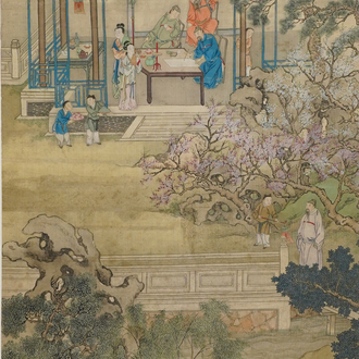 Chinese school, 18/19th C., ink and colour on silk: 'landscape with figures near a pagoda'