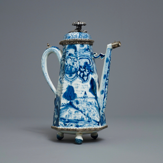 A Chinese blue and white 'Europa and the bull' silver-mounted coffee pot, Kangxi