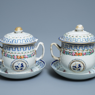 A pair of Chinese famille rose covered bowls on stands, Qianlong