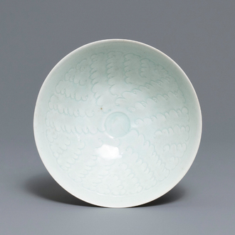 A Chinese qingbai bowl with underglaze design, Song
