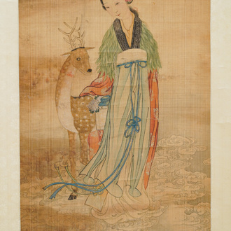 Chinese school, ink and colour on silk, Qing: 'Magu with deer'