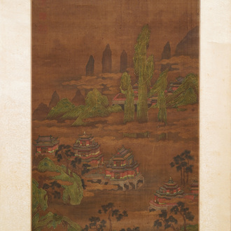 Chinese school, signed Yuanbian Xiang (1525-1590), ink and colour on silk: 'Landscape after Zhao Boju'