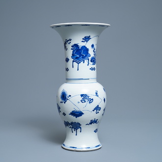 A Chinese blue and white yenyen vase with antiquities and mythical beasts, Kangxi