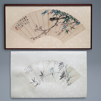 Lian Xi (1816-1884), ink and colour on paper, dated 1877: 'A fan painting with a bird'