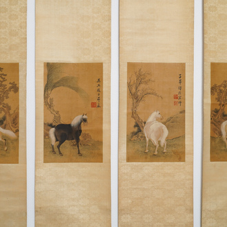 Chinese school, after Zhao Mengfu (1254-1322), ink and colour on silk, 19/20th C.: 'Four horses'
