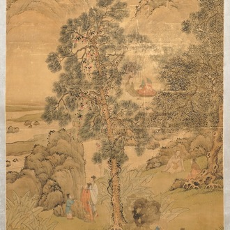 Chinese school, signed Hua Yan (1682-1756), ink and colour on paper: 'Scholars in a mountain forest'