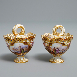 A pair of Meissen porcelain 'Kauffahrtei' inkwells and covers, Germany, 18th C.