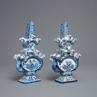 A pair of blue and white Delft-style tulip vases, Samson, France, 19th C.