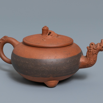 A Chinese Yixing stoneware dragon-spouted teapot and cover, impressed mark, 19/20th C.