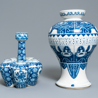 Two Chinese blue and white vases, 19th C.