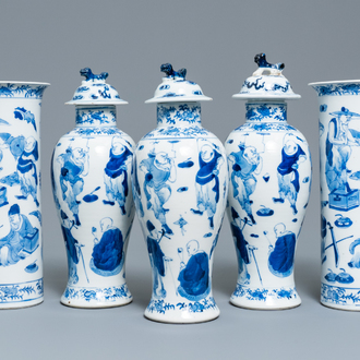 A Chinese blue and white five-piece garniture, Kangxi mark, 19th C.