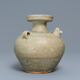 A Chinese Yue chicken-head ewer, Jin Dynasty, 3/5th C.