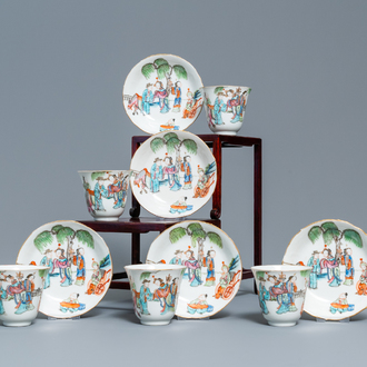 Five Chinese famille rose cups and saucers, Tongzhi mark and of the period