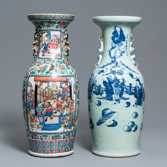 A Chinese famille rose vase and a blue and white celadon-ground vase, 19th C.