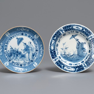 Two Chinese and Japanese plates after Cornelis Pronk: 'Dames au Parasol', 18th C.