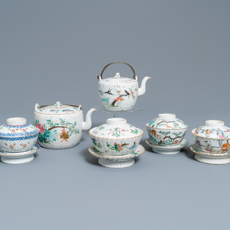 Two Chinese famille rose teapots and four covered bowls on stands, 19th C.