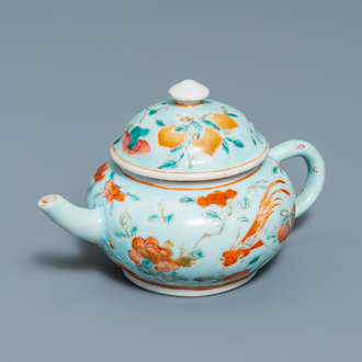 A Chinese turquoise-ground teapot and cover for the Straits or Peranakan market, 19th C.