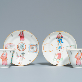 A pair of Chinese famille rose 'Wu Shuang Pu' cups and saucers, 19th C.