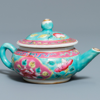 A Chinese famille rose teapot and cover for the Straits or Peranakan market, 19th C.