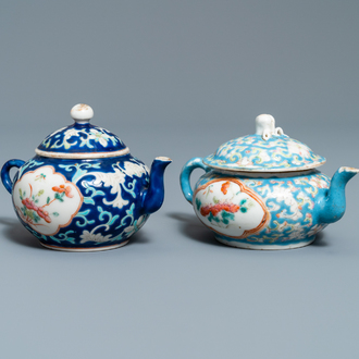 Two Chinese famille rose teapots and covers for the Straits or Peranakan market, 19th C.