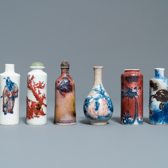 Six Chinese blue and white and copper-red snuff bottles, 19/20th C.
