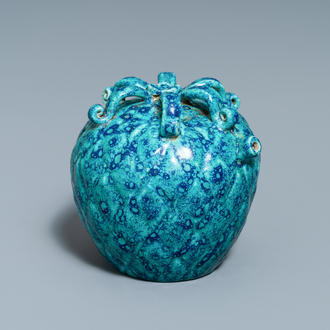 A Chinese fruit-shaped robin's egg-glazed water dropper, 19th C.