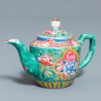 A Chinese turquoise-ground famille rose ewer for the Straits or Peranakan market, 19th C.