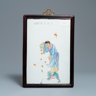 A Chinese famille rose plaque with Liu Hai on his three-legged toad, 19/20th C