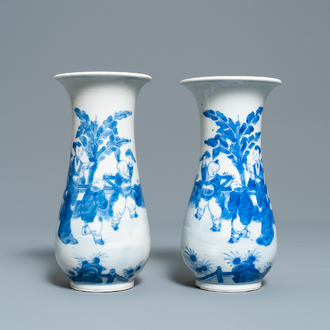 A pair of Chinese blue and white vases, Kangxi mark, 19th C.