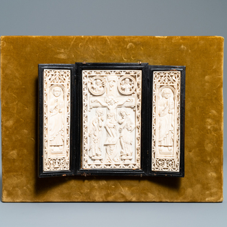 A carved ivory 'crucifixion' triptych, prob. Dieppe, France, 19th C.