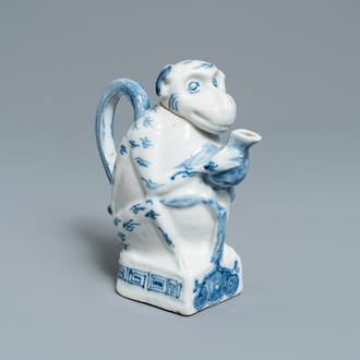 A rare Chinese blue and white monkey-shaped ewer and cover, 19th C.