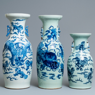 Three Chinese blue and white and celadon-ground 'Buddhist lion' vases, 19th C.