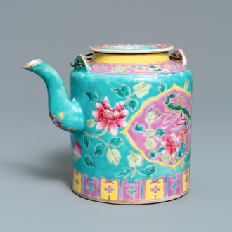 A large Chinese turquoise-ground famille rose teapot for the Straits or Peranakan market, 19th C.