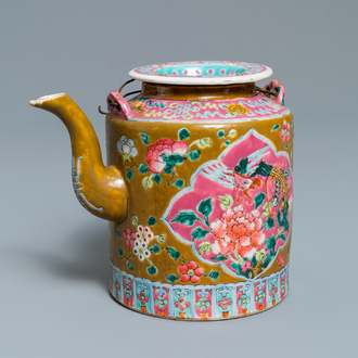 A large Chinese brown-ground famille rose teapot for the Straits or Peranakan market, 19th C.