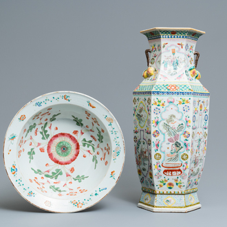 A Chinese hexagonal famille rose 'antiquities' vase and a bowl, 19th C.