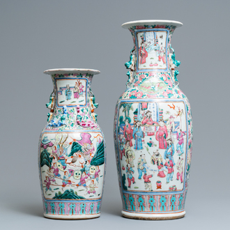 Two Chinese famille rose vases, 19th C.