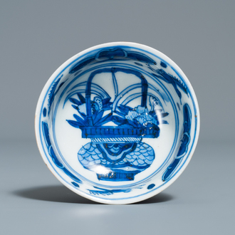 A rare deep Chinese blue and white kraak porcelain bowl with 'egret' mark, Wanli